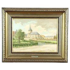 Church in Holland, Vintage Original Oil Painting, Signed Langenhove