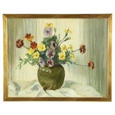 Pansy Flowers and Vase Still Life, Original Vintage Oil Painting