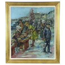 Fish Market at Copenhagen Denmark Harbor Vintage Original Oil Painting, Signed