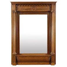 Classical Carved Oak 1900 Antique Hall Mirror, Original Beveled Glass
