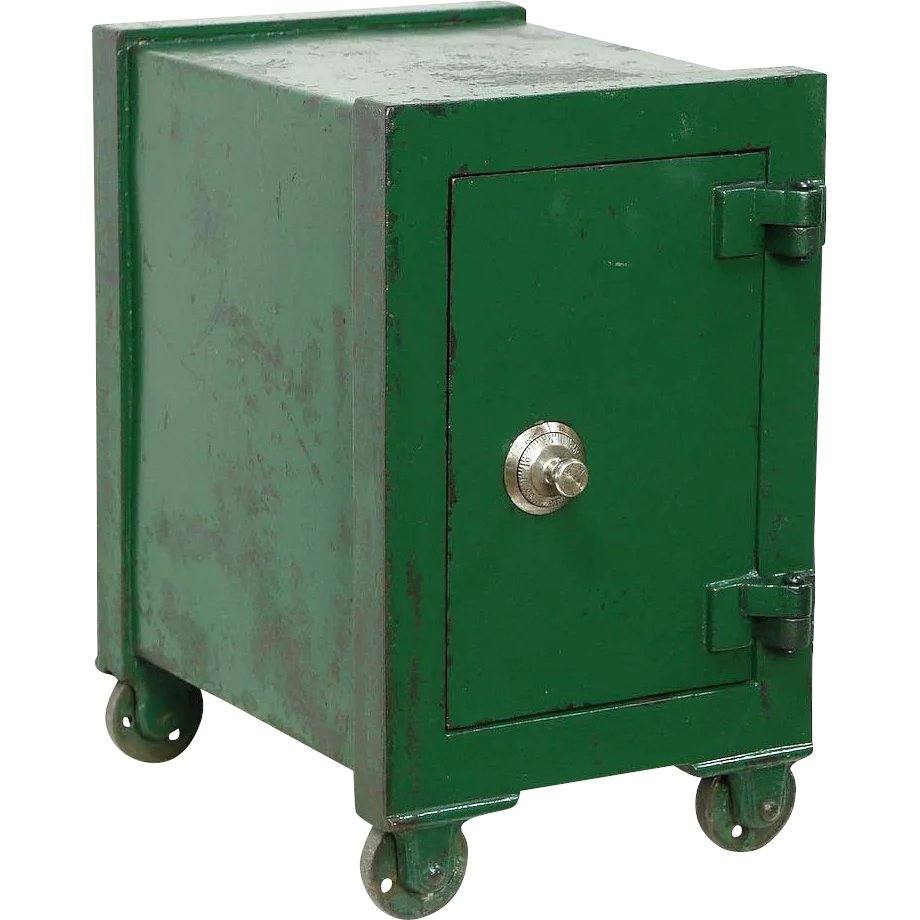 Iron Safe With Combination Lock Or 1900 Antique Chairside Table Using Pic16f84 Green Harp Gallery Furniture Ruby Lane
