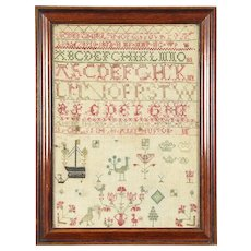 Sampler, Hand Stitched Linen, Signed & Dated 1802, England