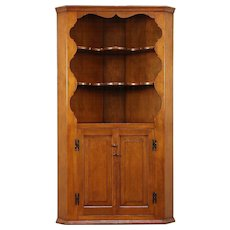 Country Pine Corner Cabinet, Hand Made 1940 Vintage Raised Panel Doors