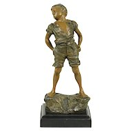 Statue of a Boy, Hand Painted 1900 Antique Sculpture, Signed Carl Kaube