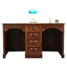 Victorian Carved Walnut 1870's Antique Twin or Partner Desk, Leather Top