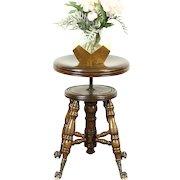 Victorian Antique Swivel Adjustable Piano or Organ Stool, Glass Ball Feet