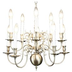 Traditional 10 Candle 2 Tier Brushed Nickel Chandelier