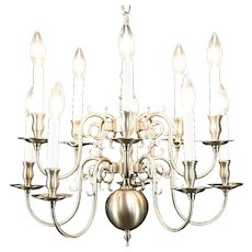 Traditional 10 Candle Brushed Nickel 2 Tier Chandelier