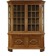 German 1915 Antique Oak Curio, Collector or China Display Cabinet