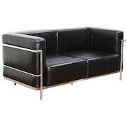 Corbusier Midcentury Modern Style Leather & Stainless Loveseat Signed Alphaville