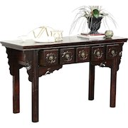 Chinese Vintage Hall Console, Sofa or Foyer Table, Hand Painted Lacquer