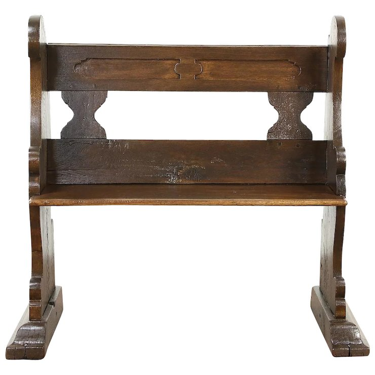 Oak late 1700's Antique Carved German Pew or Hall Bench - Oak Late 1700's Antique Carved German Pew Or Hall Bench : Harp