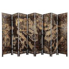 "Maitland Smith Hand Painted Chinese 8 Panel Coromandel Screen, 14' 8"""