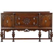 Tudor Design 1925 Antique Carved Oak Sideboard, Server or Buffet