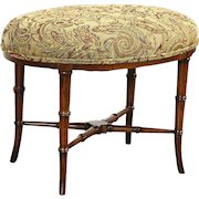 Oval Vintage Fruitwood Bamboo Stool or Bench, New Upholstery