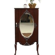 Music Cabinet or Drawing File, 1900 Mahogany Antique, Oval Beveled Mirror,