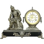 Ansonia NY Antique Open Escapement Clock, Roman Soldier Sculpture Pat. 1882