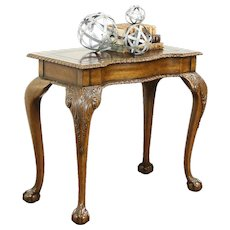 Maitland Smith Signed Vintage Carved Hall Console Table, Tooled Leather Top