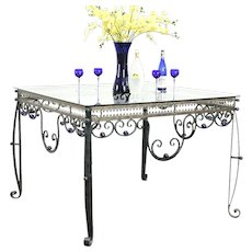 Wrought Iron Verdigris Display or Wine & Cheese Tasting Table, Glass Balls