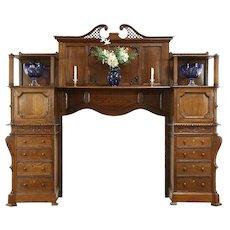 Oak Architectural Salvage Antique Scandinavian 1890's Fireplace Mantel & Cabinet
