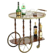Tea Cart or Vintage Beverage Trolley, Inlaid Rosewood Marquetry, Sorrento, Italy