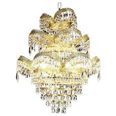Art Deco or Mid Century Modern Vintage Chandelier, Crystal Prisms