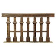 Oak 1895 Antique Architectural Salvage Stair or Balcony Railing Section