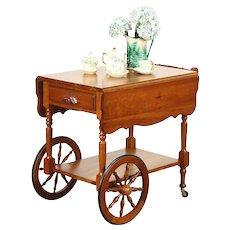 Carved Cherry Vintage Tea Cart Beverage Trolley, Signed Krauss of Amana, Iowa