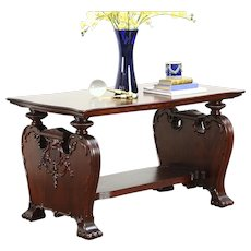 Carved Mahogany 1900 Antique Library Table or Hall Console
