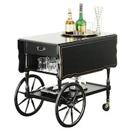Hekman Signed Vintage Tea Cart or Beverage Trolley, Black Lacquer