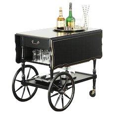 Hekman Signed Vintage Tea Cart or Beverage Trolley, Black Lacquer