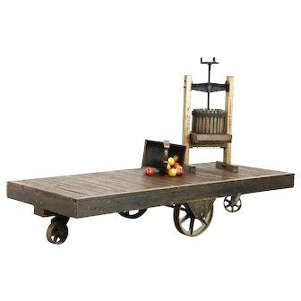 Industrial Salvage 9' Factory or Garden Landscaping Cart, Maple, Iron Wheels,