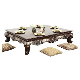 Chinese Rosewood 1860 Antique Low Banquet Dining or Coffee Table, Pearl Inlay