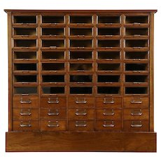 File or Collector Cabinet, Antique 50 Drawers Walnut, Glass Fronts