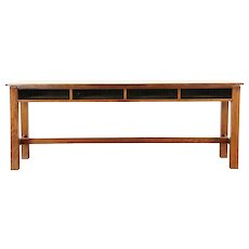 Country Pine Antique Schoolhouse Table with Cubbyholes, Sofa or Console Table