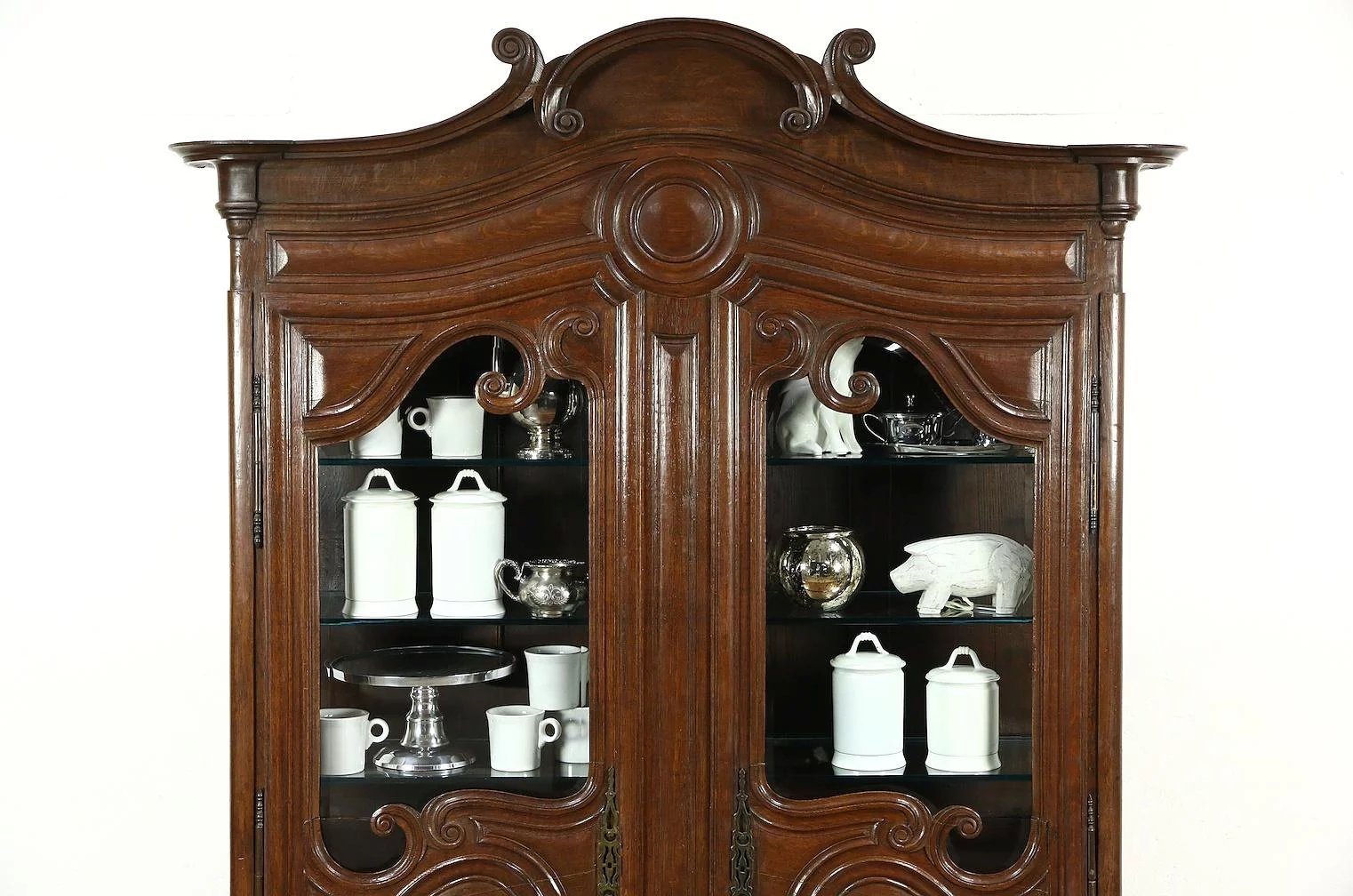 Country French 1800 Antique Oak Curio Or China Display Cabinet Beveled Gl Click To Expand