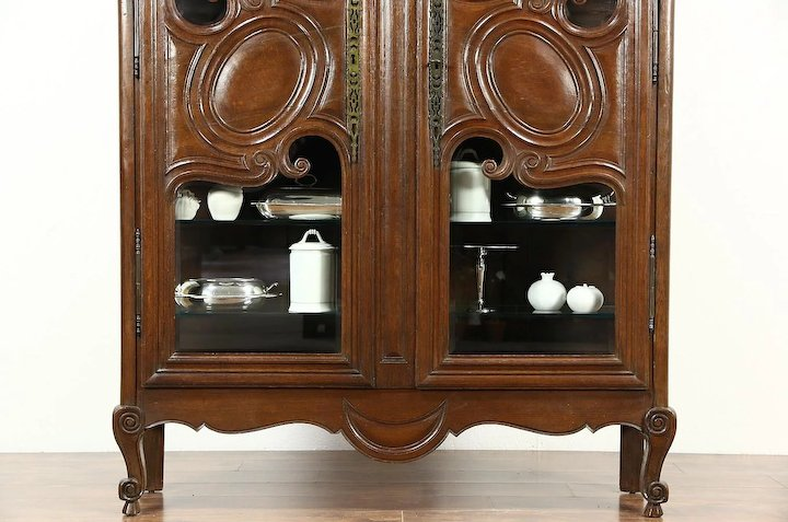 Country French 1800 Antique Oak Curio or China Display Cabinet, Beveled  Glass - Country French 1800 Antique Oak Curio Or China Display Cabinet