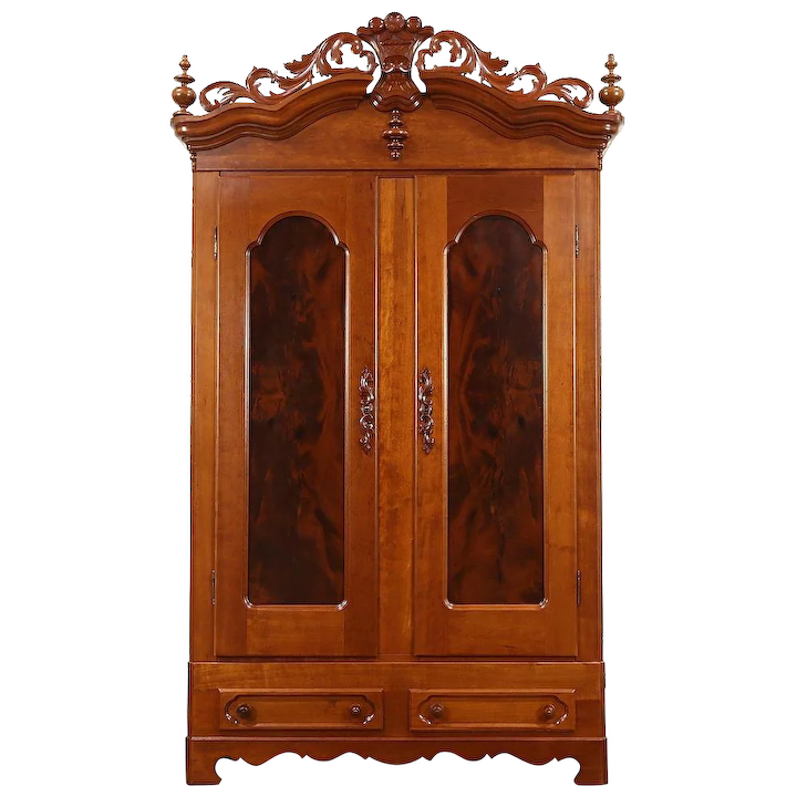 Hand Carved Cherry Armoire Wardrobe
