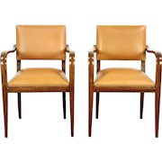 Pair of Midcentury Modern 1960's Vintage Danish Leather Library or Office Chairs