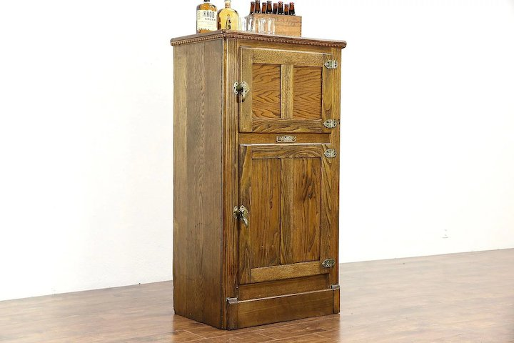 Oak & Ash 1900 Antique Pantry Icebox Cabinet, Signed Baldwin Vermont - Oak & Ash 1900 Antique Pantry Icebox Cabinet, Signed Baldwin Vermont