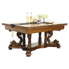 Dolphin Antique Library, Conference, Dining Table, Extends 15' Signed Ruscheweyh