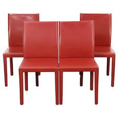 Set of 4 Red Leather Dining or Game Table Chairs, Signed Maria Yee, CA