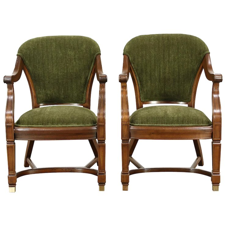 Pair of Antique Walnut Library or Office Chairs, New Upholstery, Meade  Chicago - Pair Of Antique Walnut Library Or Office Chairs, New Upholstery
