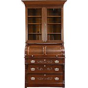 Victorian Oak Antique 1890 Cylinder Roll Top Secretary Desk & Bookcase