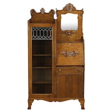 Victorian Oak Antique Side by Side Secretary Desk Bookcase, Beveled Mirror