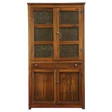 Primitive Antique Kitchen Pantry Pie Safe Cupboard, Punched Tin Doors