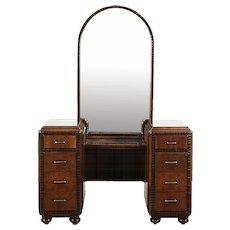 Vanity or Dressing Table, 1935 Vintage Art Deco Walnut & Burl, Jewelry Box
