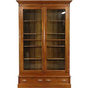 """Victorian Eastlake 8' 7"""" Tall Carved Walnut Antique 1890 Library Bookcase"""