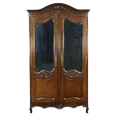 French Antique 1890 Hand Carved Oak Armoire or Wardrobe, Beveled Mirrors