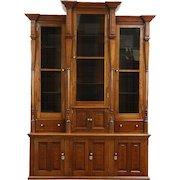 Victorian Antique 1880 Walnut Triple Library Bookcase, Wavy Glass Doors